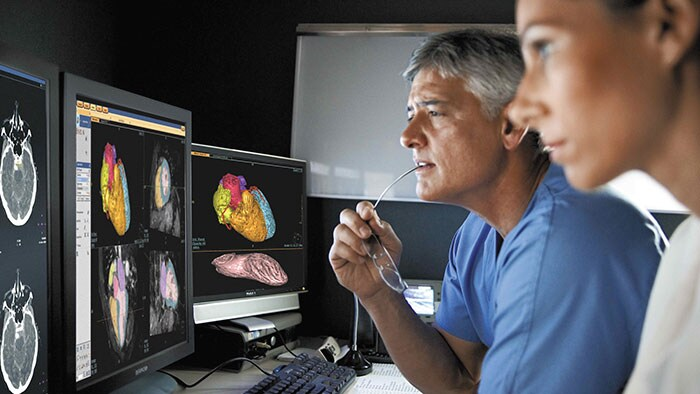 Medical specialists studying cardiological scan images