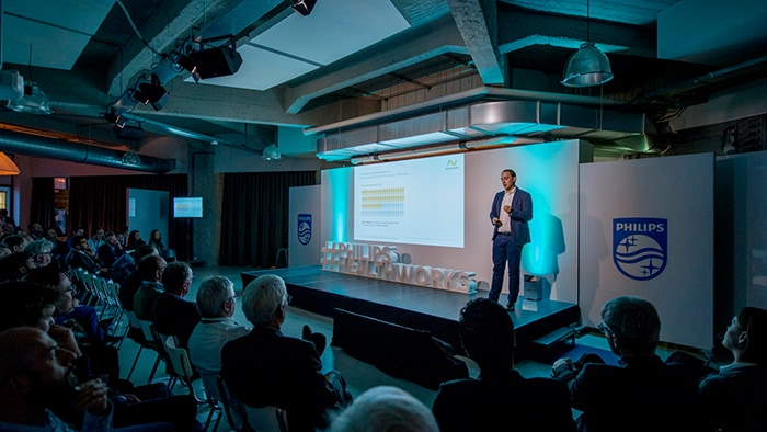 Start-up innovators participating in Philips Healthworks Breakthrough Day watch a presentation